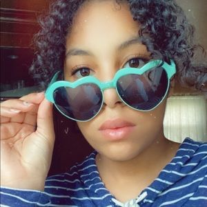 Teal heart shaped sunglasses